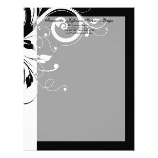 Cabeçalho reverso preto e branco do redemoinho papel de carta