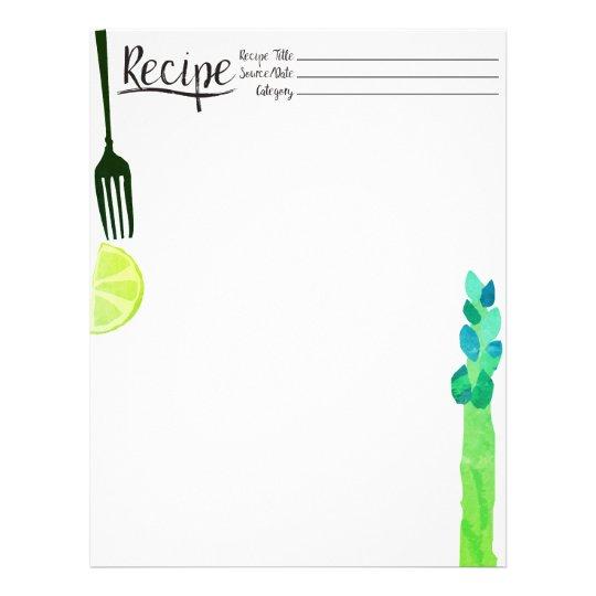 Cabeçalho vegetal da receita do limão da forquilha papel timbrado