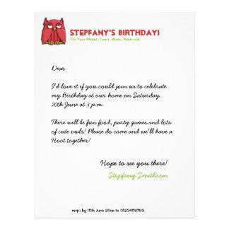 Cabeçalho vermelho do aniversário da coruja papel de carta personalizados