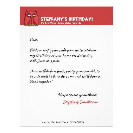 Cabeçalho vermelho do aniversário da coruja vermel papel de carta personalizados