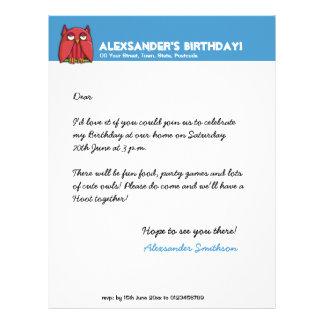 Cabeçalho vermelho do aniversário do aqua da coruj papéis de carta personalizados
