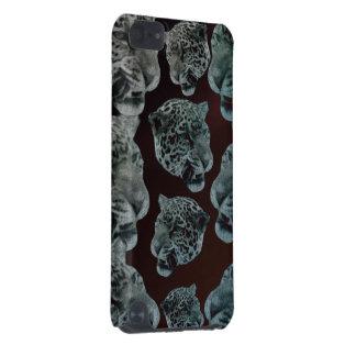 Cabeças psicadélicos vermelhas pretas do leopardo capa para iPod touch 5G