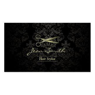 Cabeleireiro antigo do damasco do preto & do ouro cartão de visita