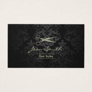 Cabeleireiro antigo do damasco do preto & do ouro cartão de visitas