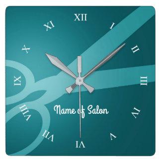 Cabeleireiro ciano das tesouras | | relógio quadrado