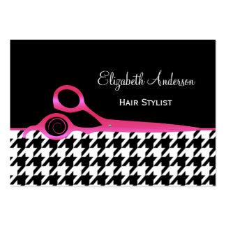 Cabeleireiro cor-de-rosa e preto feminino de cartão de visita grande