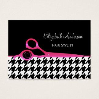 Cabeleireiro cor-de-rosa e preto feminino de cartão de visitas