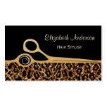 Cabeleireiro elegante do leopardo do preto e do ou cartoes de visita