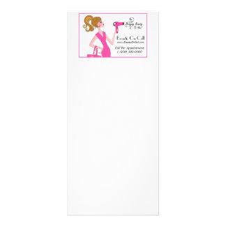 Cabeleireiro em cartões da cremalheira da chamada panfleto informativo