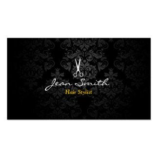 Cabeleireiro escuro à moda do damasco cartão de visita
