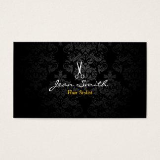 Cabeleireiro escuro à moda do damasco cartão de visitas
