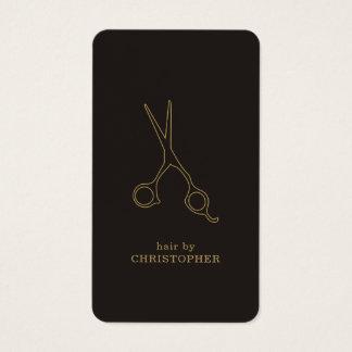 Cabeleireiro escuro mínimo moderno do ouro do cartão de visitas