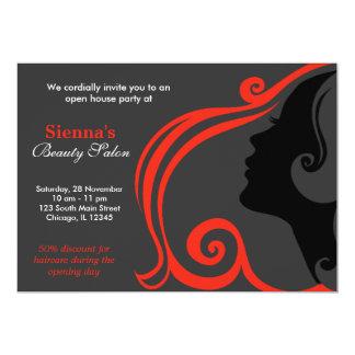 Cabeleireiro (firebrick) convite 12.7 x 17.78cm