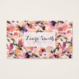 Cabeleireiro floral cor-de-rosa moderno elegante cartão de visitas