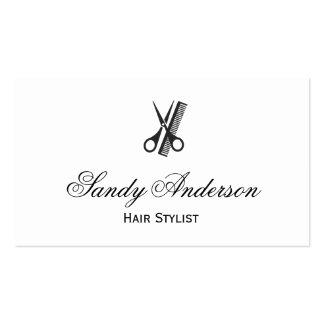 Cabeleireiro Indie - branco preto elegante simples Cartão De Visita