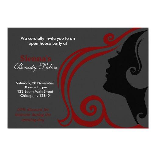 Cabeleireiro (obscuridade - vermelho) convite personalizado