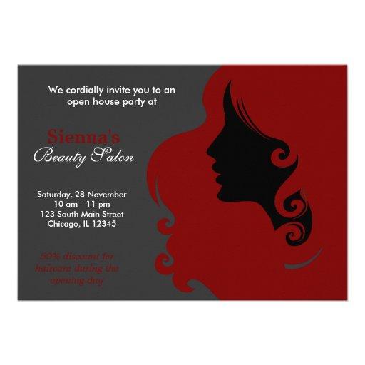Cabeleireiro (obscuridade - vermelho) convites
