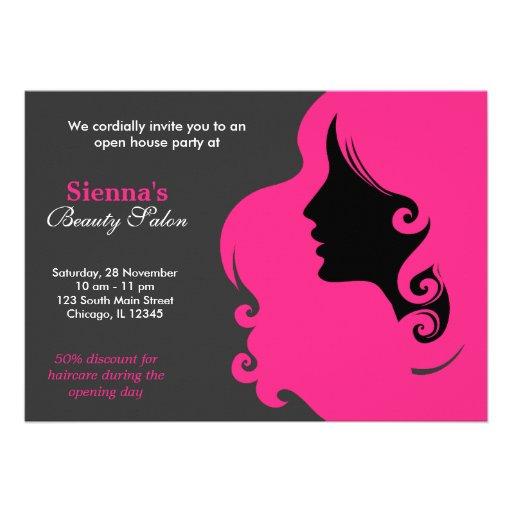 Cabeleireiro (profundamente - rosa) convite personalizado