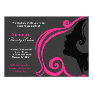 Cabeleireiro profundamente - rosa convite personalizados