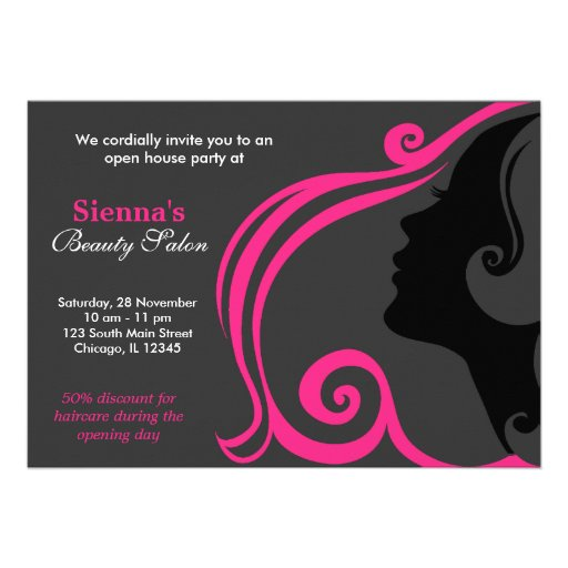 Cabeleireiro (profundamente - rosa) convite personalizados