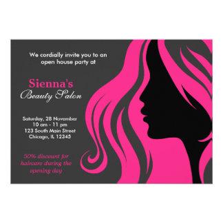 Cabeleireiro profundamente - rosa convites
