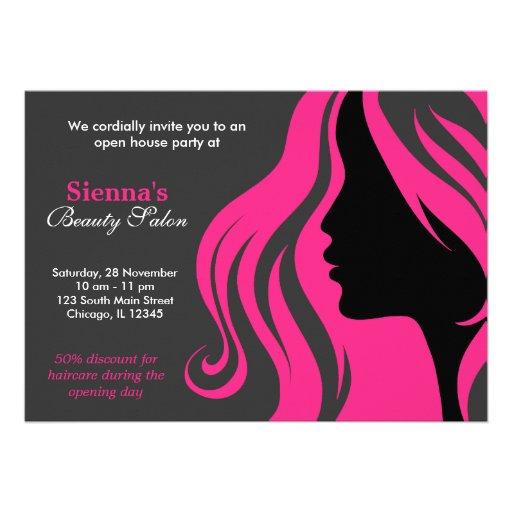 Cabeleireiro (profundamente - rosa) convites