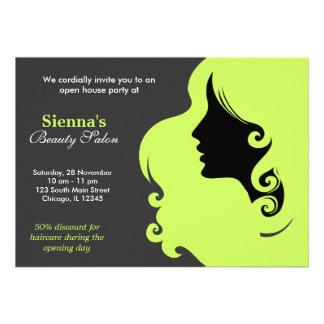 Cabeleireiro verde azeitona escura convites personalizados