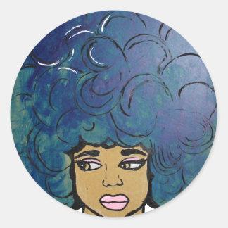 Cabelo grande da menina azul do ébano do Afro Adesivo