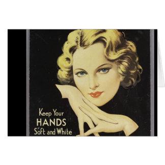 Cabelo louro da mulher do creme da mão da cartão comemorativo