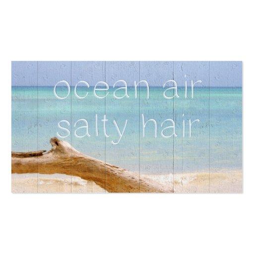 Cabelo salgado do ar do oceano modelo cartão de visita