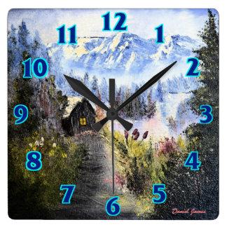 Cabine da montanha relógio quadrado
