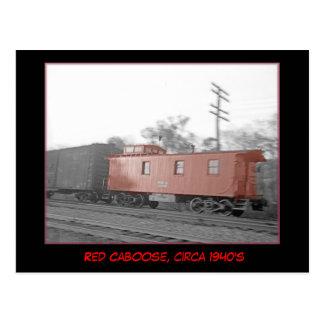 Caboose vermelho, cerca do cartão dos anos 40