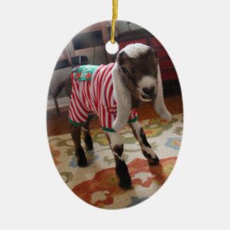 Cabra do bebê no ornamento do Xmas dos pijamas