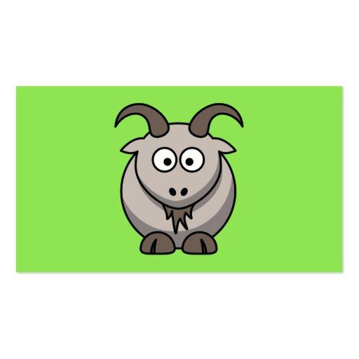 Cabra dos desenhos animados no fundo verde-claro cartões de visitas