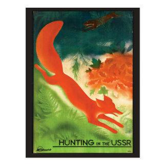 Caça de raposa do cartão das viagens vintage de cartão postal
