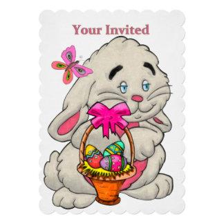 Caça do ovo da páscoa do COSTUME do coelho e da Convite 12.7 X 17.78cm
