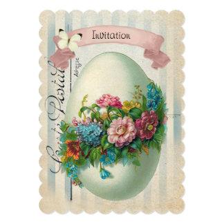 Caça do ovo da páscoa do ovo da flor da páscoa do convite 12.7 x 17.78cm