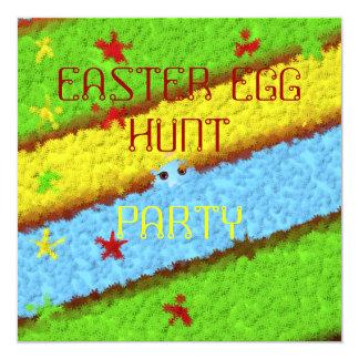 Caça escondida da mulher do ovo da páscoa convite quadrado 13.35 x 13.35cm