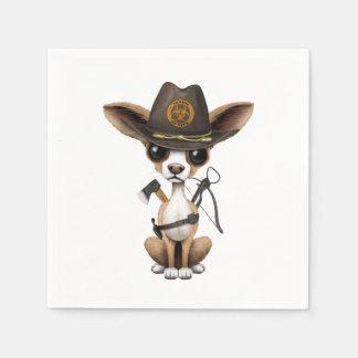 Caçador bonito do zombi do filhote de cachorro da guardanapo de papel