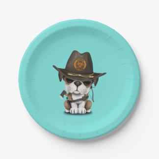 Caçador bonito do zombi do filhote de cachorro do prato de papel