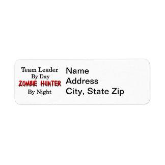 Caçador do líder da equipa/zombi etiqueta endereço de retorno
