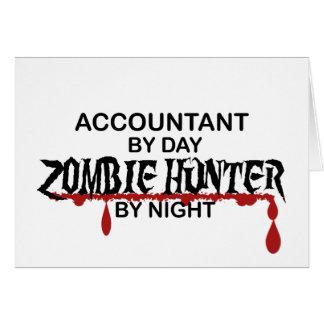Caçador do zombi do contador em a noite cartão comemorativo
