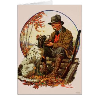 Caçador e Spaniel Cartão Comemorativo