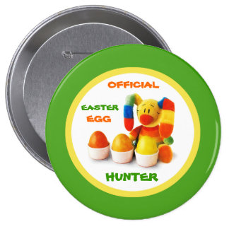 Caçador oficial do ovo da páscoa. Botão do present Bóton Redondo 10.16cm