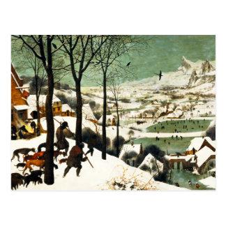 Caçadores de Pieter Bruegel no cartão da neve Cartão Postal