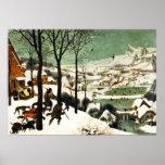 Caçadores de Pieter Bruegel no poster da neve