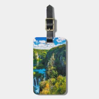 Cachoeira elegante cénico, Croatia Etiqueta De Bagagem