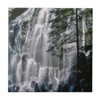 Cachoeira na floresta, Oregon Azulejo Quadrado Pequeno