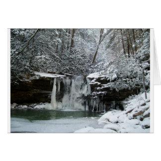 Cachoeira nevado do inverno cartão comemorativo