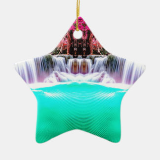 Cachoeira psicadélico ornamento de cerâmica